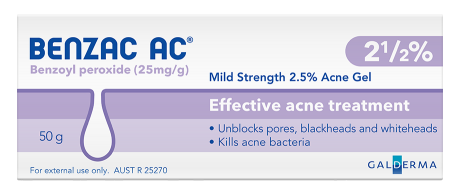 Benzac AC Mild Strength 2.5% Acne Gel