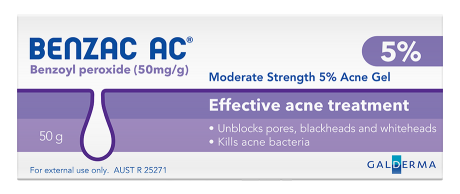 Benzac AC Moderate Strength 5% Acne Gel